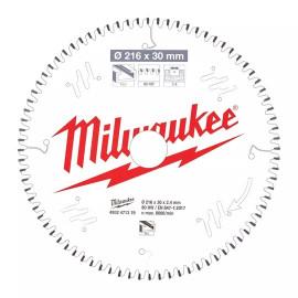 Пильный диск для торцовочной пилы по алюминию MILWAUKEE 216x30x2,4x80 трапецевидный зуб/плоский зуб отрицательный угол 4932471319