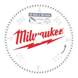 Пильный диск для торцовочной пилы по алюминию MILWAUKEE 254x30x3,0x80 трапецевидный зуб/плоский зуб отрицательный угол 4932471318