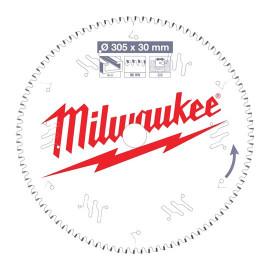 Пильный диск для торцовочной пилы по алюминию MILWAUKEE 305x30x3,0x96 трапецевидный зуб/плоский зуб отрицательный угол 4932471323