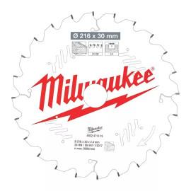 Пильный диск для торцовочной пилы по дереву MILWAUKEE 216x30x2,4x24 скошенные зубья отрицательный угол 4932471315