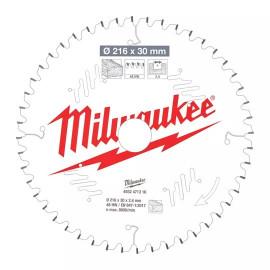 Пильный диск для торцовочной пилы по дереву MILWAUKEE 216x30x2,4x48 скошенные зубья отрицательный угол 4932471316
