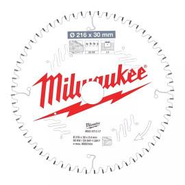 Пильный диск для торцовочной пилы по дереву MILWAUKEE 216x30x2,4x60 скошенные зубья отрицательный угол 4932471317