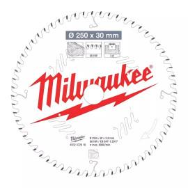 Пильный диск для торцовочной пилы по дереву MILWAUKEE 250x30x2,8x60 скошенные зубья 4932472016