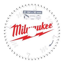 Пильный диск для циркулярной пилы по дереву MILWAUKEE 184x30x2,4x54 трапецевидный зуб/плоский зуб отрицательный угол 4932471299