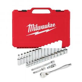 Набор метрических головок MILWAUKEE с воротком 3/8 дюйма (32 предмета) 4932464945