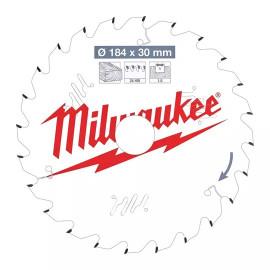 Пильный диск для циркулярной пилы по дереву MILWAUKEE 184x30x1,6x24 скошенные зубья 4932471297