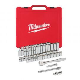 Набор метрических и дюймовых головок MILWAUKEE с воротком 3/8 дюйма (56 предметов) 4932464946