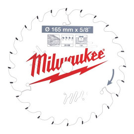 Пильный диск для циркулярной пилы по дереву MILWAUKEE 165x15.87x1.6x24 скошенные зубья 4932471311