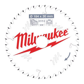 Пильный диск для циркулярной пилы по дереву MILWAUKEE 184x30x2,1x40 скошенные зубья 4932471298